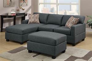blue grey fabric reversible chaise sectional sofa with ottoman With gray sectional sofa with ottoman