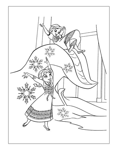 Frozen Coloring Pages Elsa And Anna Playing See the
