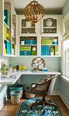 green home office Green and Blue Office with L Shaped Desk - Transitional