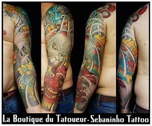 Tatouage Japonais Bras : tatouge bras homme masques de fudo kitsune et tengu ~ Melissatoandfro.com Idées de Décoration