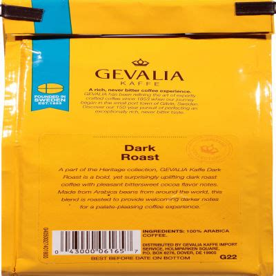 These bold, yet surprisingly uplifting dark roast coffee pods offer a hint of pleasant bittersweet cocoa flavor. Gevalia Dark Roast Ground Coffee 8 oz Bag - My Food and Family
