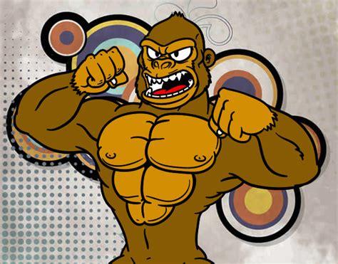 Desenho de Gorila forte pintado e colorido por Jhonatan9 o