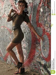 Fashion Runway Model Posing At Locations With Graffiti On ...