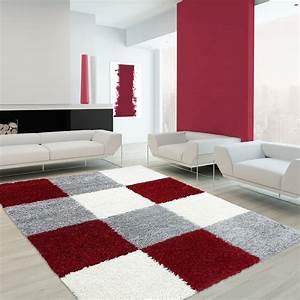 Tapis 160x230 Pas Cher : tapis shaggy longues m ches rouge gris cream hautes ~ Teatrodelosmanantiales.com Idées de Décoration