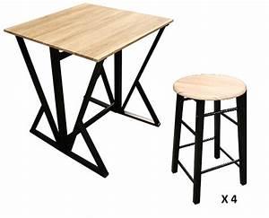 Table Haute Et Tabouret : ensemble table et chaises ensemble table haute avec 4 tabourets ly n0615 kreabel ~ Teatrodelosmanantiales.com Idées de Décoration