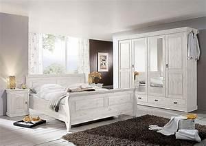 Schlafzimmer set 4teilig kiefer massiv wei lasiert for Schlafzimmer kiefer weiß