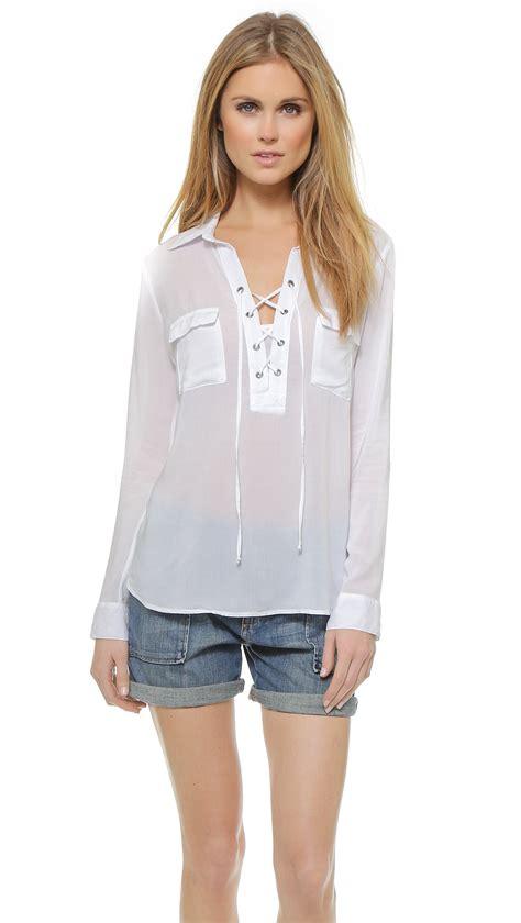 up blouse pics white lace up blouse fashion ql