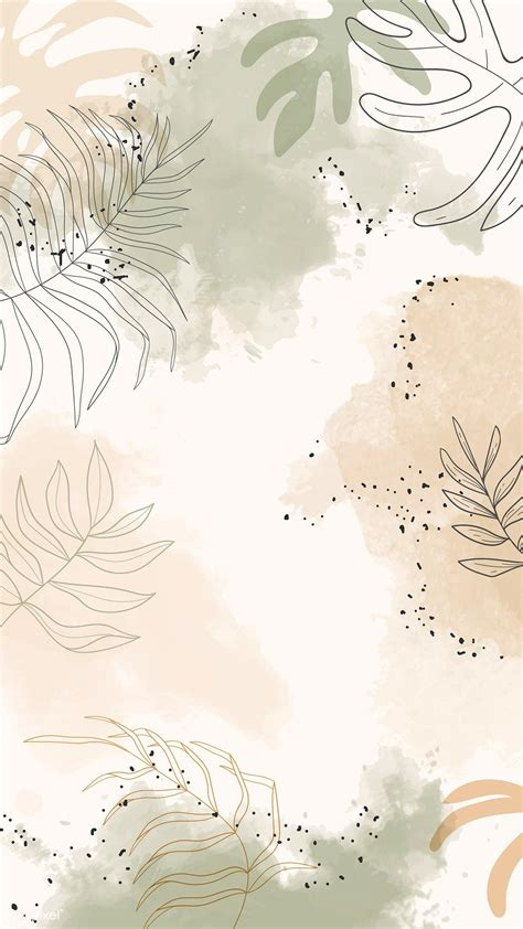 All of these watercolor background images and vectors have high resolution and can be used as banners. Download premium vector of Beige leafy watercolor mobile ...
