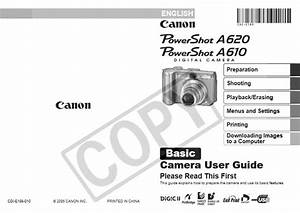 Canon Powershot A610 Manual  Owner User Guide And Instructions