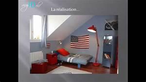 deco chambre ado garcon drapeau usa youtube With deco chambre petit espace