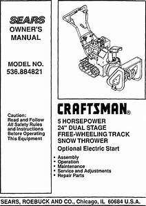 Craftsman 536884821 User Manual Snow Thrower Manuals And