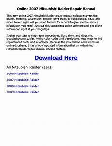 2007 Mitsubishi Raider Repair Manual Online By Emran Ahmed