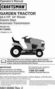 Craftsman 917204030 User Manual Tractor Manuals And Guides