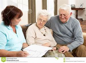 Senior Couple In Discussion With Health Visitor Stock ...