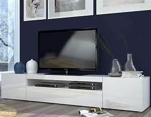 Meuble Tv Arrondi : meuble tv blanc laque design 200 galena zd1 ~ Teatrodelosmanantiales.com Idées de Décoration