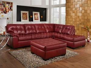 Red bonded leather modern sectional sofa w optional ottoman for Red leather sectional sofa with ottoman