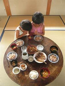 Traditional Japanese Meals on Chabudai Low Dining Table in ...