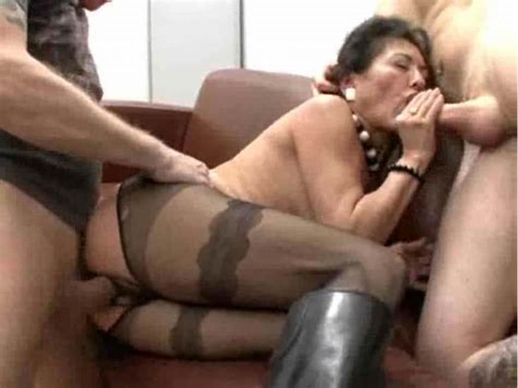 #Crotchless #Pantyhose #Milf #In #Boots #Fucked #By #Two #Guys