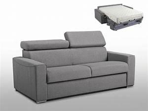 canape 3p convertible express vizir 18 cm tissu gris With tapis chambre bébé avec canapé convertible couchage 120