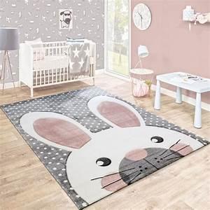 Teppich Kinderzimmer Rosa : kinderteppich niedlicher hase grau pastell rosa ~ A.2002-acura-tl-radio.info Haus und Dekorationen