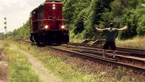 Idiot Almost Kills Himself Jumping In Front Of Train