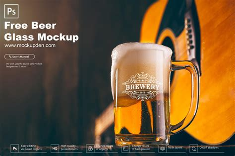 Assets for photoshop, sketch, xd, figma, free for your commercial and personal projects. Free Beer Glass Mockup PSD Template | Mockup Den
