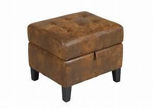Repose Pied Coffre : acheter votre pouf coffre en microfibre marron effet cuir vieilli chez simeuble ~ Teatrodelosmanantiales.com Idées de Décoration