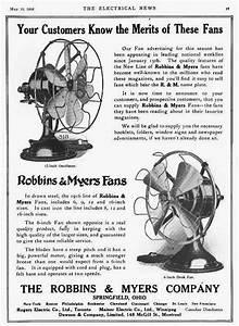 Early Electric Fans  Robbins  U0026 Myers List 1404 Desk Fans