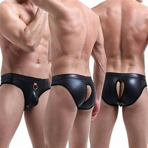 Silicone Colour Chart Mens Black Pu Leather Backless Boxer Briefs