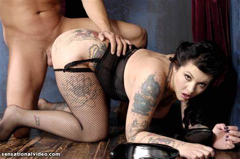 Tattooed Skank Getting Poundings In All Holes