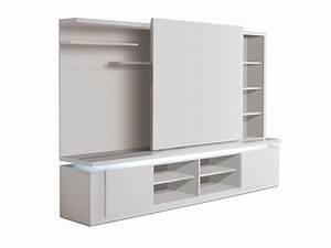 Mur tv design avec porte coulissante et eclairage mallaury for Porte de garage coulissante et porte interieur blanc laqué