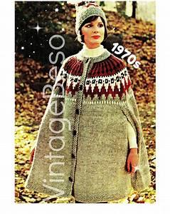 Cape Knitting Pattern Hat Pattern  U2022 Retro 1970s Cap