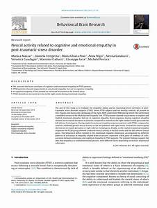 Pdf  Neural Activity Related To Cognitive And Emotional Empathy In Post