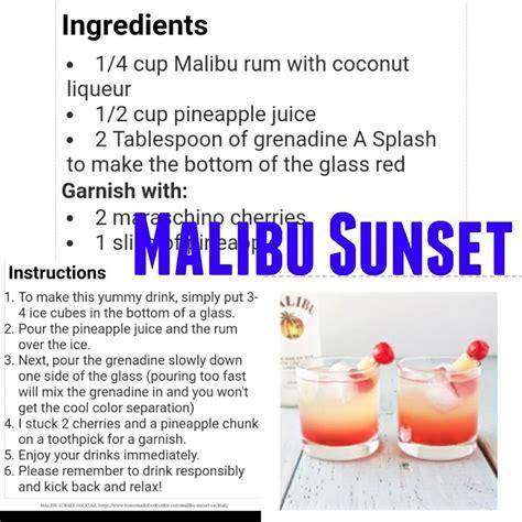 All departments alexa skills amazon devices amazon global store apps & games audible verified purchase. Malibu Sunset | Malibu sunset, Mixed drinks recipes, Mixed ...