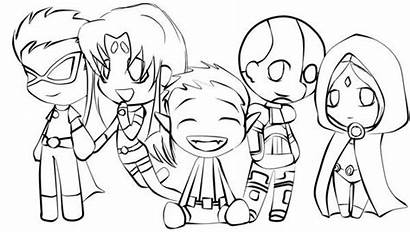 Titans Coloring Teen Pages Chibi Drawing Titan