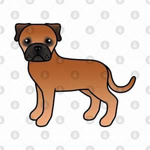 Red Bullmastiff Dog Cute Cartoon Illustration