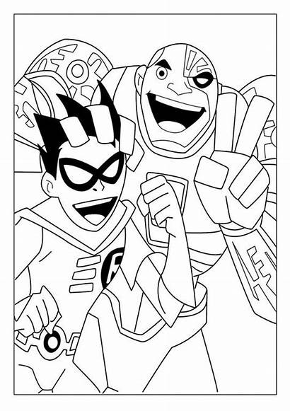 Titans Coloring Teen Pages Robin Cyborg Titan