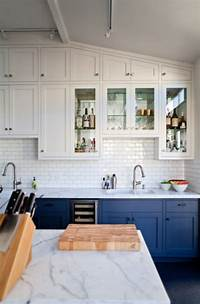 colored kitchen cabinets Go Halfsies in Your Kitchen with Bi-Colored Cabinets