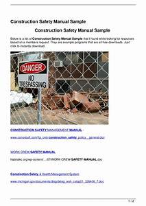 Construction Safety Manual Sample