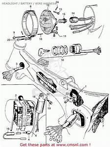 Honda Ca110 1962 Usa Headlight    Battery    Wire Harness