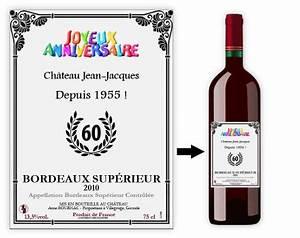 Cadeau Homme 60 Ans : bouteille de vin personnalisee humour ~ Teatrodelosmanantiales.com Idées de Décoration