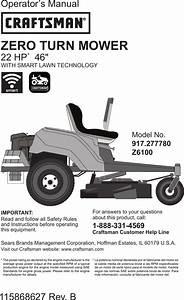 Craftsman 917277780 User Manual Riding Mower Manuals And