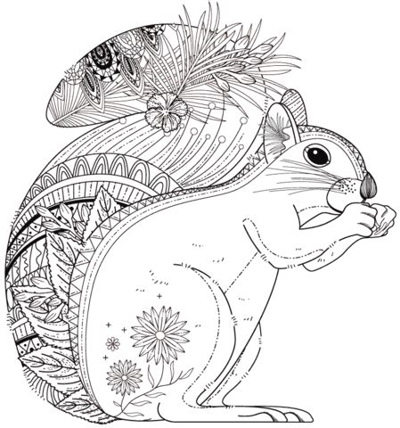Squirrel Zentangle Coloring page from Zentangle category