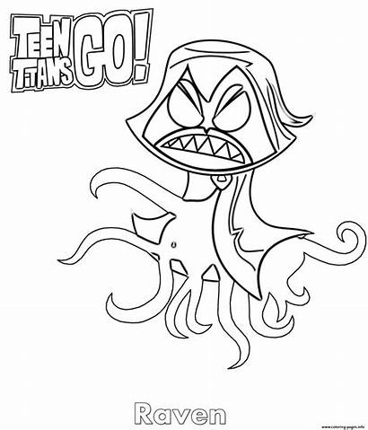 Titans Raven Coloring Teen Pages Angry Beast