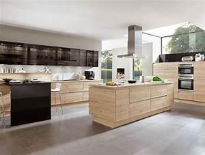 cuisine avec ilot central en bois With cuisine en ilot central