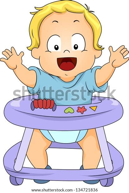 These are released under creative. Illustration Happy Toddler Boy Baby Walker Stock Vector ...