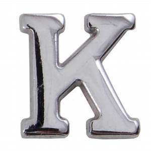 silver metallic letter k with clutch pin With silver letter k