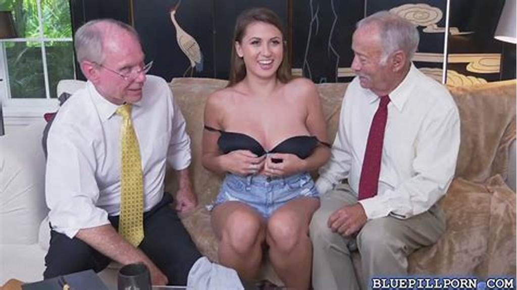 #Young #Busty #Brunette #Gets #Naked #In #Front #Of #Two #Old #Gents