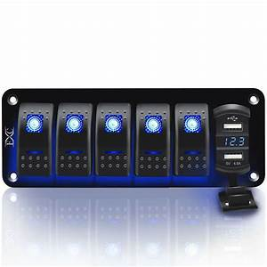 6 Gang Toggle Rocker Switch Panel Dual Usb For Car Boat