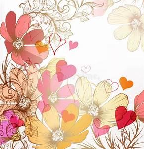 Cute Valentine Pastel Floral Vintage Background Stock ...